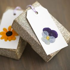 There's nothing sweeter than a well wrapped gift. Your gift recipient will be in love with these gorgeous pressed flower tags, made by you!
