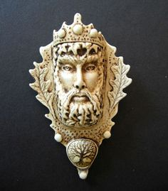 Greenman forest king celtic pendant or pin by moosupvalleydesigns