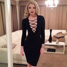 Boutique Black Midi Dress With Criss Cross V Neck