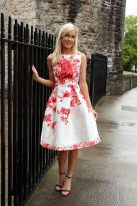 White And Red Print Midi Skater Dress