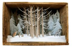 Allison May Kiphuth is a NH Seacoast/Maine-based diorama artist and nature enthusiast who spends a large portion of her time putting big landscapes into tiny boxes Shadow Box Kunst, Shadow Box Art, Arte Assemblage, Arte Pop Up, Fun Crafts, Paper Crafts, Tunnel Book, Antique Boxes, Art Plastique