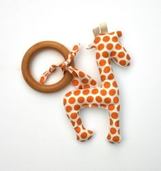 Organic Cotton Teether Toy - Giraffe with Wooden Ring