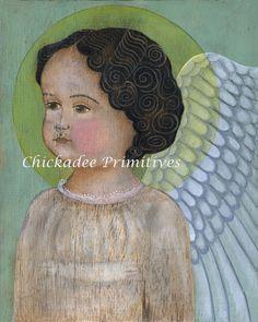 Primitive Folk Art Angel Portrait by ChickadeePrimitives on Etsy, $15.00