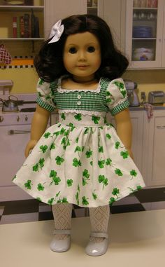 Irish Lass - vintage style dress for American Girl doll. $48.00, via Etsy.