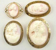 Cameo Jewelry - A grouping of gold mounted Victorian   angelskin coral antique cameo brooches.    [Photo courtesy of  Sunday and Sunday Fine Antique Jewelry]