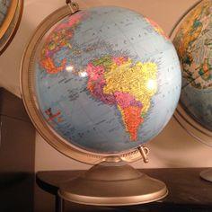 "Vintage 12"" ""Reference"" Globe w/ Metal Stand Gustav Bruekmann Cartographer"