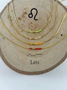 LEO Morse Code necklace, CUSTOM morse code, Secret Message, Dainty necklace, Personalized, Morse code jewelry, Birth necklace, mother Gift de KukanaJewelry en Etsy