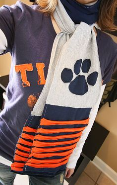 Take an old T-Shirt and transform it into a Scarf. I should make my own and replace the paw with a U, for the Utah Utes of course.