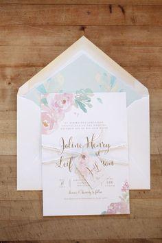 Just My Type Wedding Invitation & Wedding Stationery Design NZ Romantic Pastel Watercolour Floral Silver Fern Wedding #weddinginvitation
