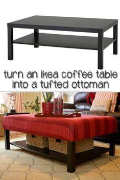 "another ottoman idea. DIY; Turn an Ikea ""Lack"" Coffee Table into a Tufted Ottoman! :-D"