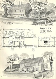 Reminds me of Williamsburg, VA  Vintage House Plans, Early Colonial