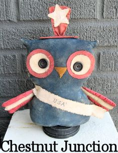 $1.99 USA Owl EPATTERN...primitive patriotic by chestnut junction on Etsy