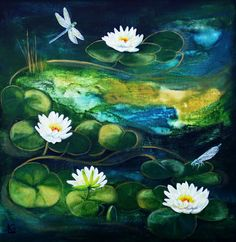 Original Acrylic Painting on Canvas Waterlillies Textured 20x20 inches. £150.00, via Etsy.
