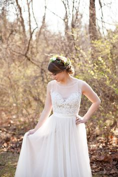 Illusion Neckline Wedding Dress with Tulle by bridalblissdesigns, $798.00