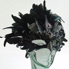Raven Queen Jeweled Leather Mask with Silver Filigree and Feathered Headdress