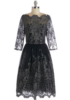 Gilded Grace Dress in Noir by Chi Chi London - Long, Knit, Lace, Black, Silver, Embroidery, Lace, Scallops, Special Occasion, Vintage Inspired, A-line, 3/4 Sleeve, Variation, Boat, Prom, Halloween, Homecoming, Holiday Party, 50s