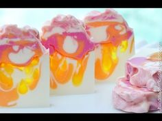 Sun Kissed Handmade Soap - She used Melt & Pour for the translucent part of the swirl. Just ingenious!