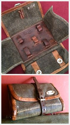 1946 Vintage Swiss Army canvas & leather tool roll