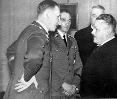 Reinhard Heydrich receives new Czech prime minister dr. Interesting detail about Krejčí - he breeded fighting cocks and actively popularized cockfights. Paratrooper, Luftwaffe, Karl Hermann Frank, Imperial Security, My Heart Aches, Catholic Priest, The Third Reich, Someone Like You, World War Two