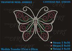 Diseño transfer con brillantes, para decorar en prendas téxtiles.
