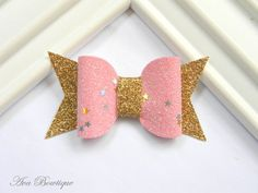 Glitter Bow Hair Clip - Bow Hair Clip - Pink Bow Hair Clip - Glitter Bow Clippie - Pink Glitter Clippie by AvaBowtiquee on Etsy