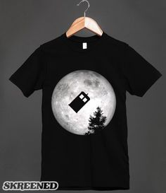 Police Box - Doctor Who - Tardis Flying Past The Moon T Shirt - Clothes, fashion for women, men, teens and kids