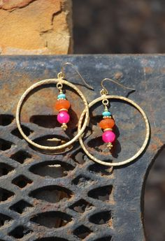 Colorful Boho Gold Hoops with Hot Pink by HappyGoLuckyJewels