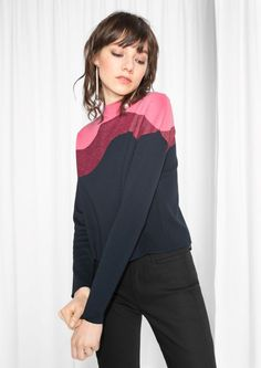 & Other Stories Colour Block Knit  in Blue