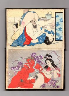 Original concertina-style woodblock print erotic book (shunga) - Japan - Early 20th century