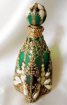 Edwardian Hand Painted Emerald Glass