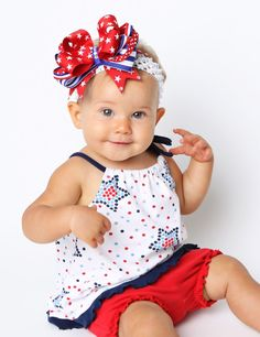 4th of july baby hair bows