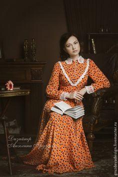 """""""Белла"""" ,шелковое женское платье - оранжевый,в горошек,Вязанный воротник"""