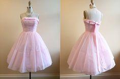 1950s Dress - Vintage 50s Dress - Pink Chiffon Rhinestones Party Prom Dress S - Patisserie on Etsy, $228.00
