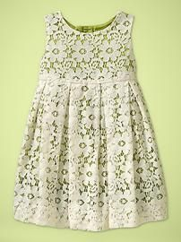 Pleated lace dress from baby GAP - Beautiful! I would pair with the ballet flats and floppy straw hat or a nice lace headband, with or without a little flower or bow on it.