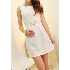 Wholesale Sleeveless Scoop Neck Jacquard Embroidered Beam Waist Ruffles Ladylike Women's Dress Only $9.25 Drop Shipping   TrendsGal.com
