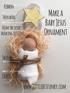 20 Minute Crafter - Make an Adorable Baby Jesus Ornament! 20 Minute Crafter - Make an Adorable Baby Jesus Ornament! Christmas Ornaments To Make, Christmas Nativity, Noel Christmas, Christmas Crafts For Kids, Christmas Projects, Holiday Crafts, Christmas Gifts, Christmas Decorations, Countdown To Christmas