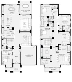 The Bordeaux offers ample living space including a walk-in pantry, four bedrooms and two bathrooms. House Layout Plans, Family House Plans, Bedroom House Plans, New House Plans, Dream House Plans, Modern House Plans, House Layouts, House Floor Plans, Double Storey House Plans