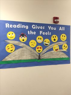 Reading gives you all the f… Whitefish Bay Public Library bulletin board/display. Reading gives you all the feels! Reading Bulletin Boards, Bulletin Board Display, Classroom Bulletin Boards, Classroom Decor, Preschool Bulletin, English Bulletin Boards, School Library Displays, Middle School Libraries, Public Libraries