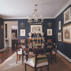 Mary McDonalk - dark blue dining w/wood tones