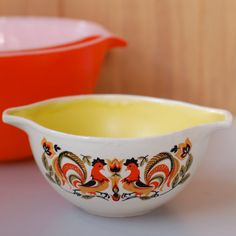 Rooster Pyrex bowl