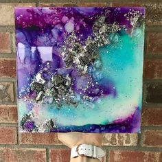 """This 10x10"""" is ✖️sold!✖️ I loved doing silver detailing on this one, and I'm so thankful you guys like these as much as I do Check out the close up video on my IG page.. . . . . . . . . . #alcoholink #inkartist #abstractart #artflow #fluidart #resin #crystalart #resinart #resinpainting #resinartist #3dart #abstractpainting #artsyaf #artsyfartsy #pnwartist #wallart #homedecor #fluidart #alcoholinkart #artsanity #artforsale #gallerywallideas #abstractart #inkflow #dreamyart #walldecor…"""