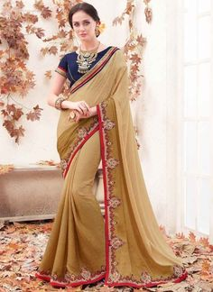 Bewitching Chiku Color Embroidery Thread Work Cut Dana lace Border Stone Work Shaded Sarees