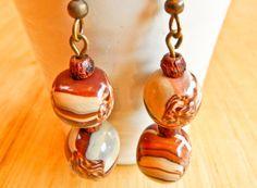 Brown Marble Effect Earrings Pearl Earrings, Drop Earrings, Marble Effect, Pearls, Brown, Jewelry, Pearl Studs, Jewlery, Jewerly
