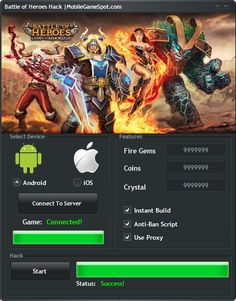 Visit http://www.mobilegamespot.com/battle-of-heroes-hack-unlimited-fire-gems-coins-and-crystal/ get unlimited coins and free gems! This free hack tool was designed to work with all tablets and phones running android and iOS operating system! If you want to be a better player you should download Battle of Heroes apk mod!