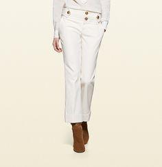 stretch cotton cuffed skinny flare pant