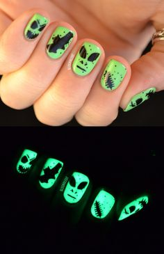 Best glow-in-the-dark nails I've ever seen! (By Nailed It)