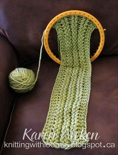 Knitting With Looms: 'Montery Lime' Scarflette: 'No Counting Garter Stitch' technique ... On every single row purl the first 3 pegs. Then you continue e-wrapping 2 pegs skipping 1, e-wrapping final 3 pegs in row. When you turn to go back, simply purl first 3 pegs. Using this technique, you never have to remember whether you are on a purl or a knit row for border. ALWAYS purl first pegs knit last! That gives you a garter stitch border with no headaches or lost places.