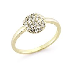 Pave Diamond Ring in Yellow Gold