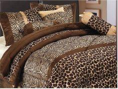 7 Piece Safari Comforter set Zebra Giraffe Bed in a Bag Brown Beige Full (Double) size Micro Fur Bedding