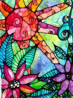 Sun flowers Art Jungle Fever mixed media door RobinMeadDesigns